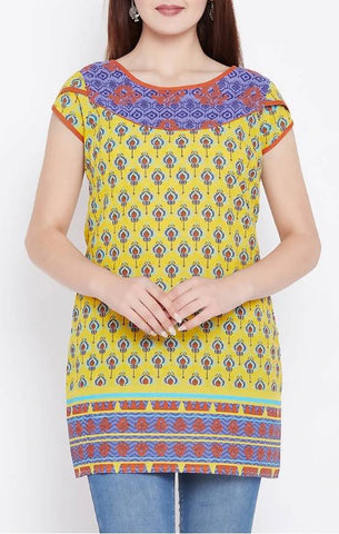 Triyaa Yellow Cotton Straight Kurti