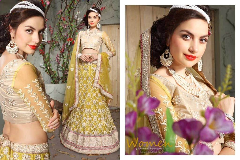 Aasvaa Outstanding Women's Embroidered Net Lehenga Choli With Un-Stitched Blouse (MIKLA61D_Lemon Yellow_Free Size)