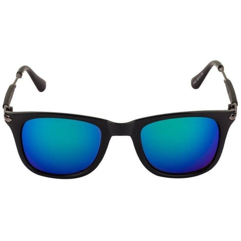 Blue & Green Square Frame Black Sunglass By Men