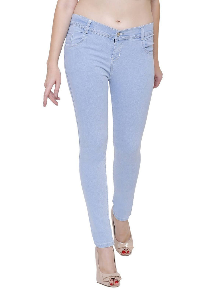 Pavis, Women Skinny Fit, Ice Blue, Dobby Denim Jeans