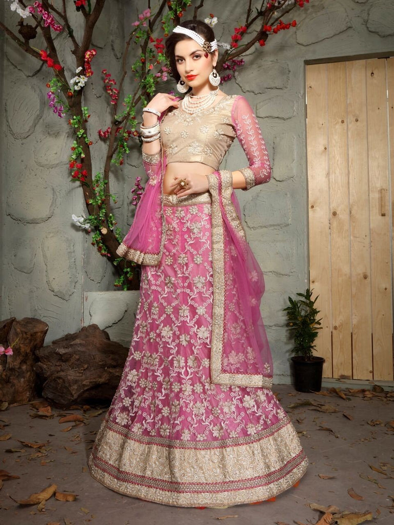 Aasvaa Matchless Women's Embroidered Net Lehenga Choli With Un-Stitched Blouse (MIKLA61B_Magenta Pink_Free Size)