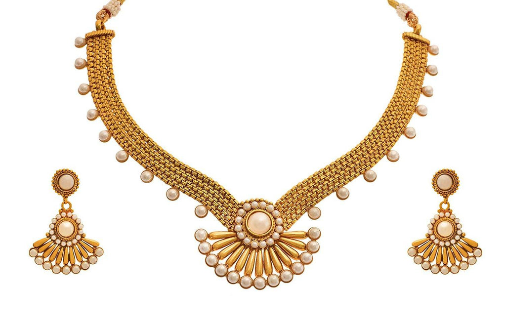 JFL - Jewellery for Less Traditional Ethnic 1g Gold Plated Pearls Designer Necklace Set with Earring for Women
