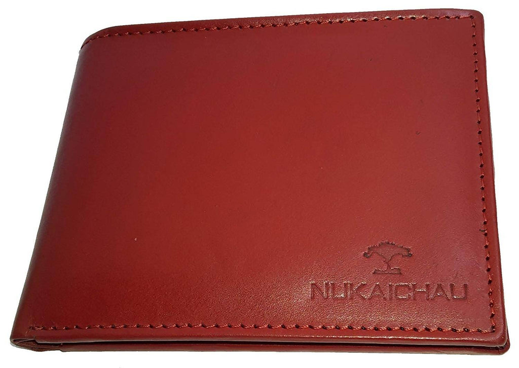 NUKAICHAU Red Single Fold Men's Leather Wallet
