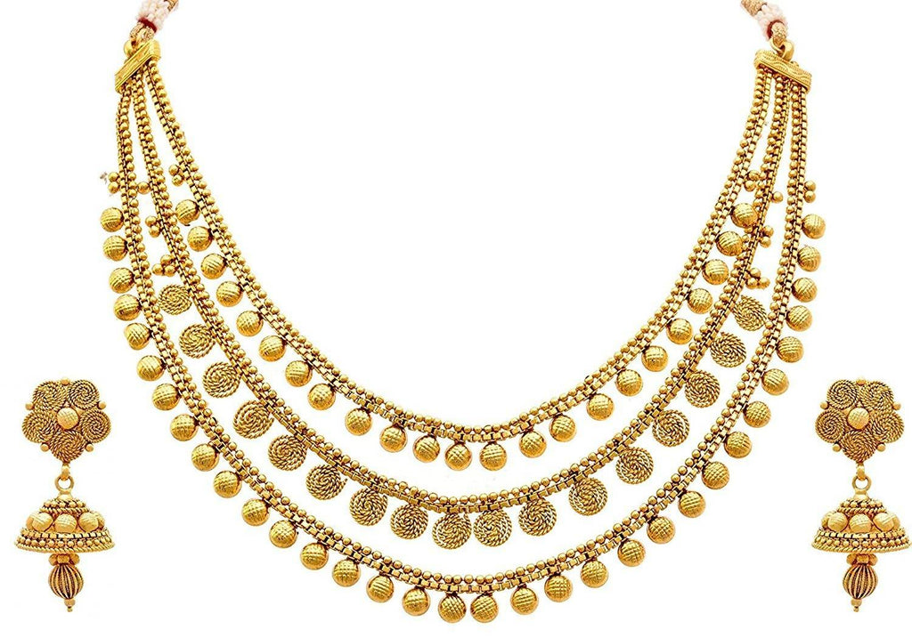 Jfl - Jewellery For Less One Gram Gold Plated Spiral Necklace Set/Jewellery Set with Jhumka Earring for Women