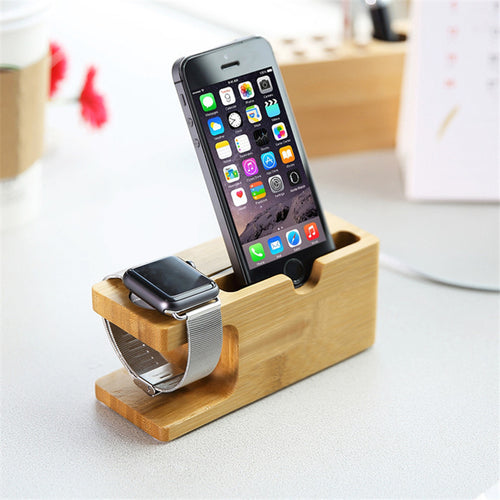 100% Natural Bamboo Charging Dock Station For Mobile Phone and Watch