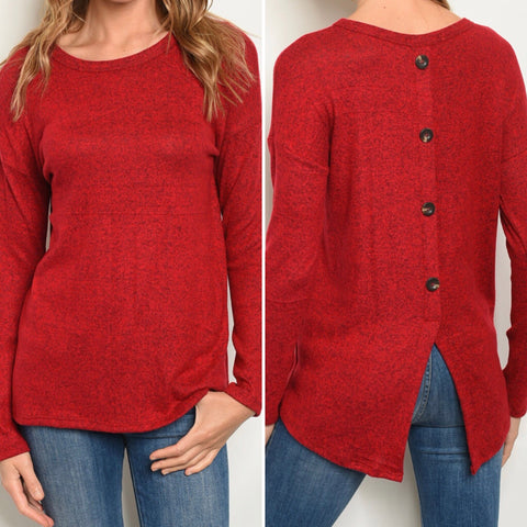 Red Back Button Sweater