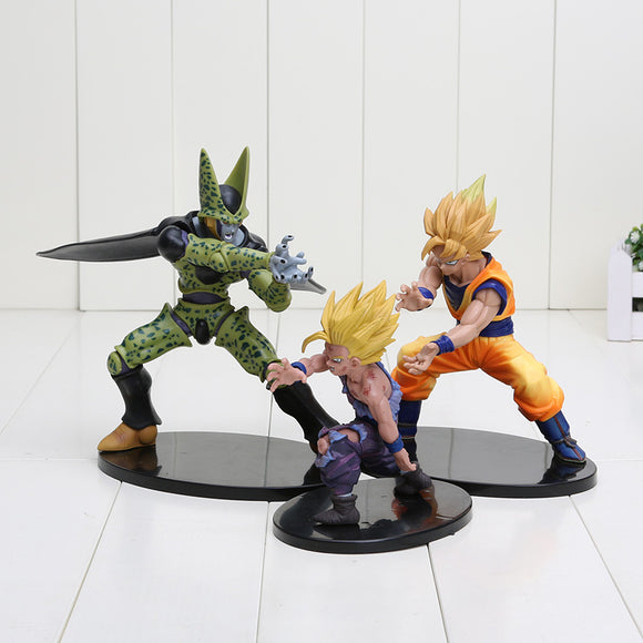 12-17cm Dragon Ball Z figure Dramatic Showcase Super Saiyan Son Goku, Son Gohan & Perfect Cell Kamehameha pose