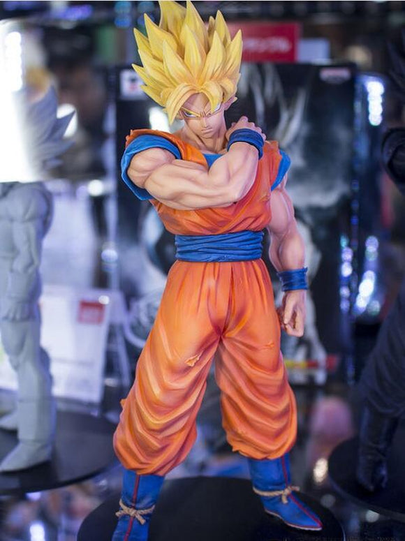 22cm Dragon Ball Z Super Saiyan Goku Stance Pose Action Figure PVC Collection, Option - with and without retail box