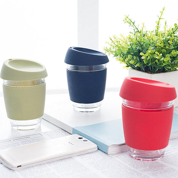 Anti-hot portable Coffee Glass mug
