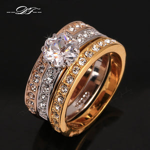 Anti Allergy 3 Rounds Cubic Zirconia Paved Engagement Ring Sets