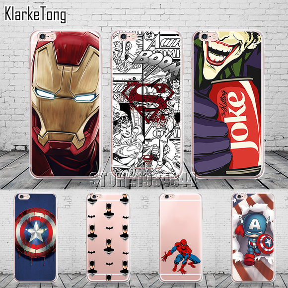 Amazing Marvel & DC Case Cover For iPhone 6 6s 5 5s se 7 7Plus