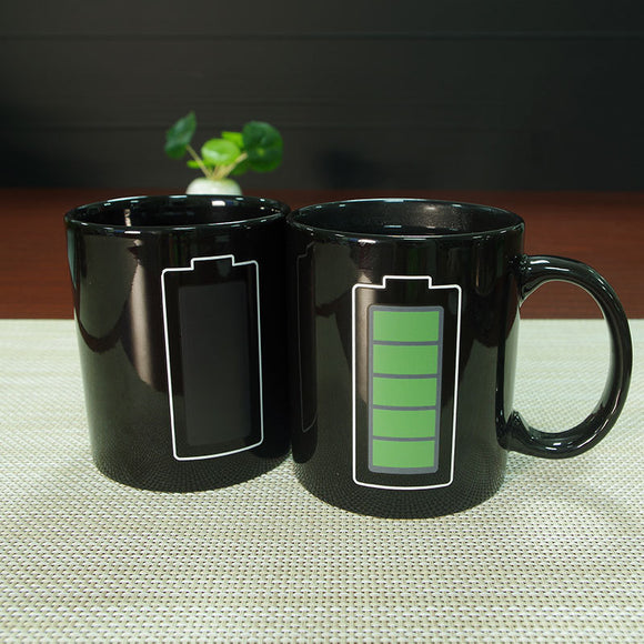 Temperature Changing Battery Heat sensitive Coffee Tea Mugs