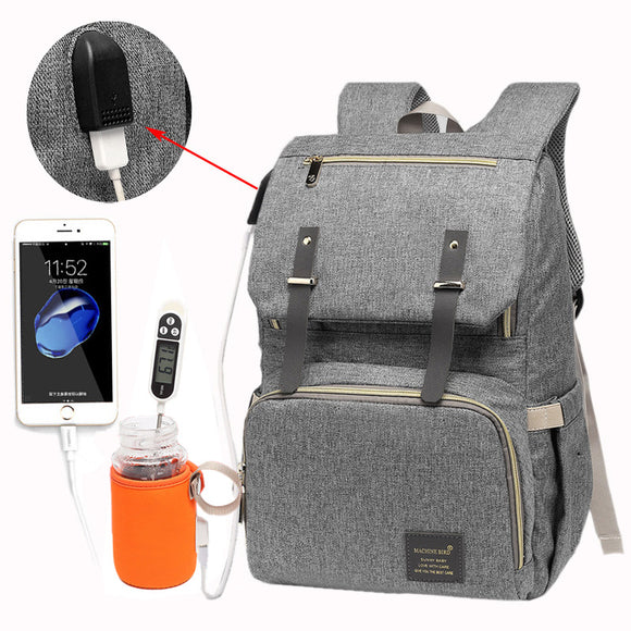 USB Waterproof Baby Nappy Bag for Mummy & Daddy Backpack With Large Capacity