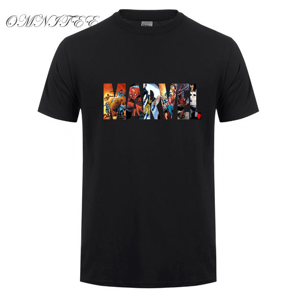 Marvel Short Sleeve T-shirts Men Superhero print t shirt O-neck comic Marvel shirts tops men clothes Te
