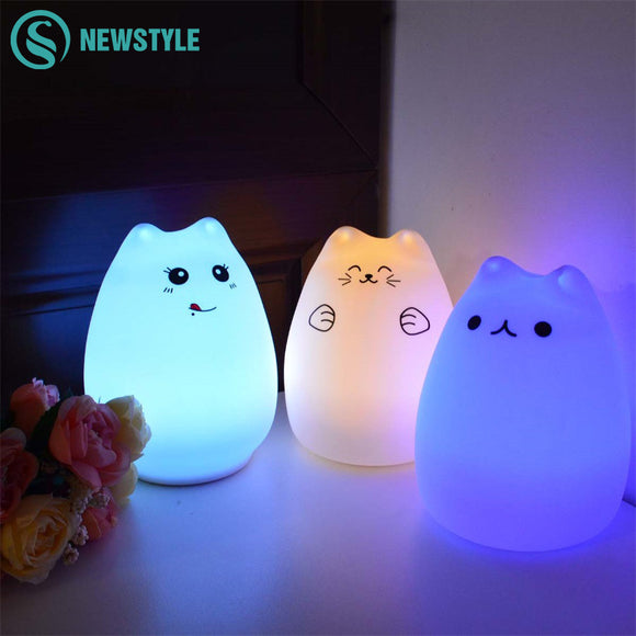 Silicone Cat Touch Sensor LED Night Light For Children