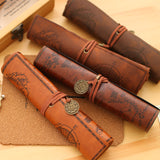 Treasure Map Luxury Roll Leather Pencil Cases and Cosmetic Bag