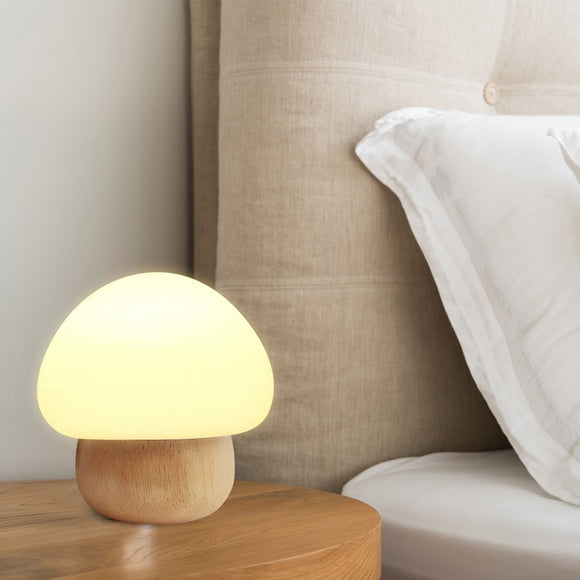 Wooden Wireless Remote Mushroom Led Night Lamp