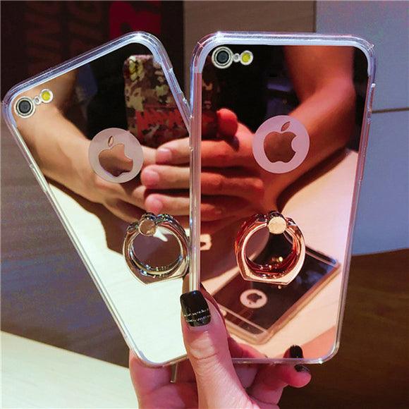 Mirror back shell Protector cover ring case for iphone 5S, 6s, 6s plus, & 7 plus