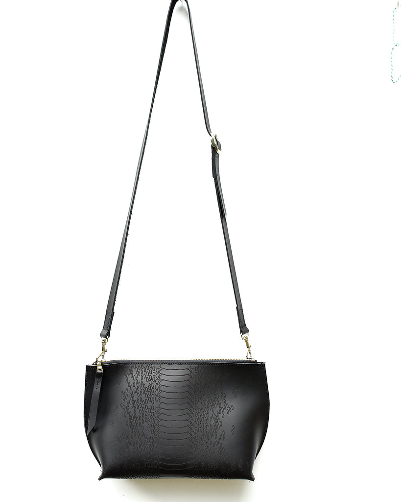 Black Python Everyday Leather Zip Cross-body