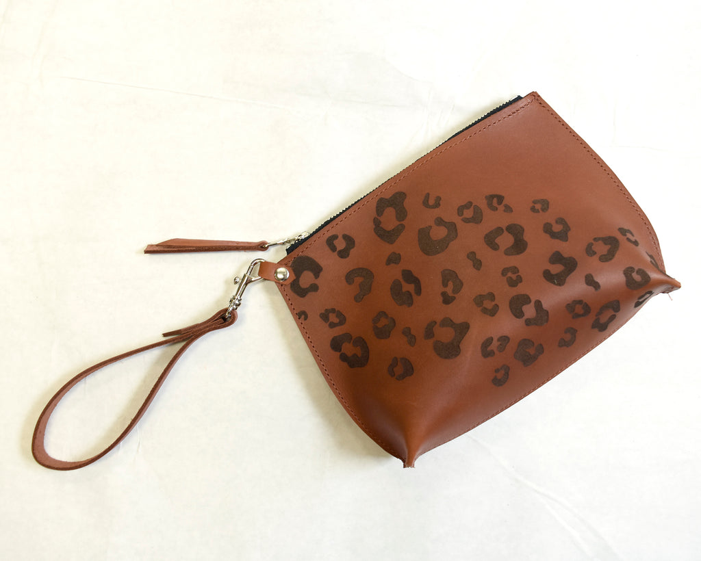 Leopard Print in Walnut Everyday Wristlet
