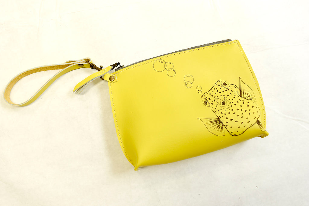 Bright Yellow Blow Fish Everyday Wristlet
