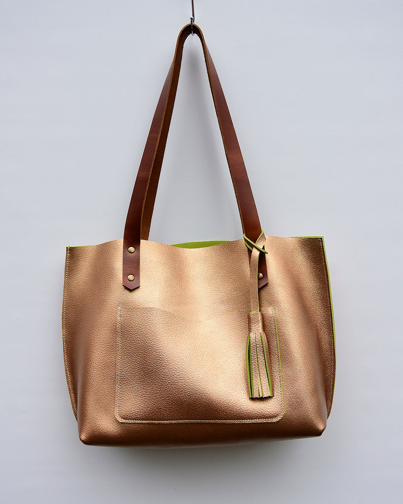 PiP Metallic Bronze Leather Tote