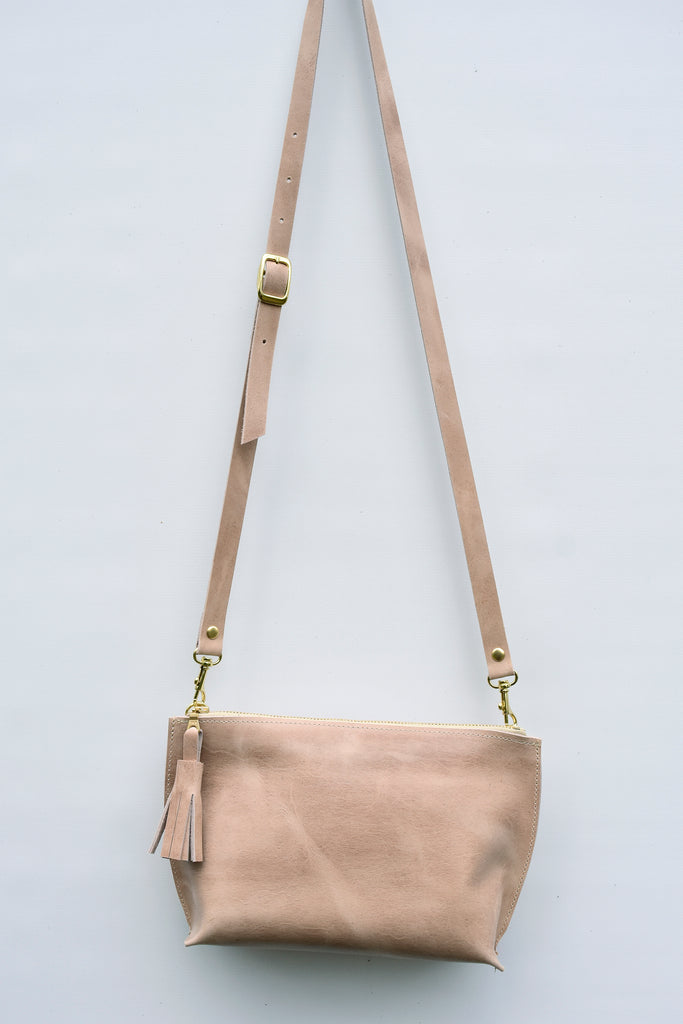 Everyday Leather Zip Crossbody in Distressed Beige