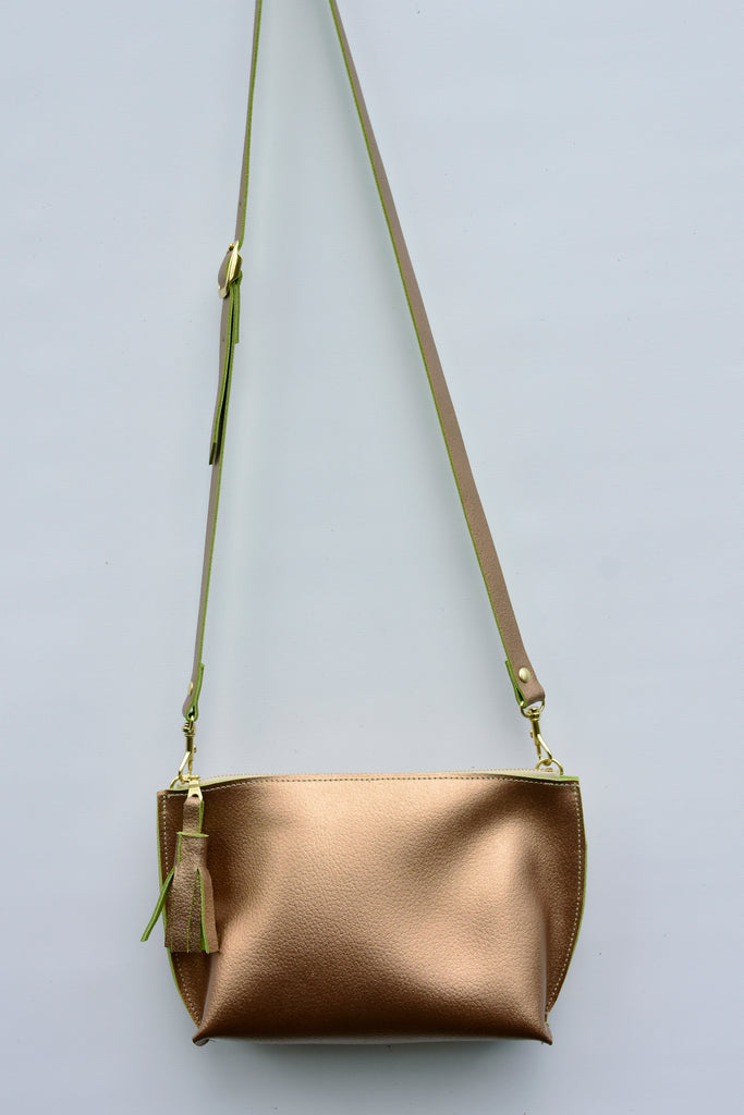 Metallic Bronze Everyday Leather Zip Cross-body