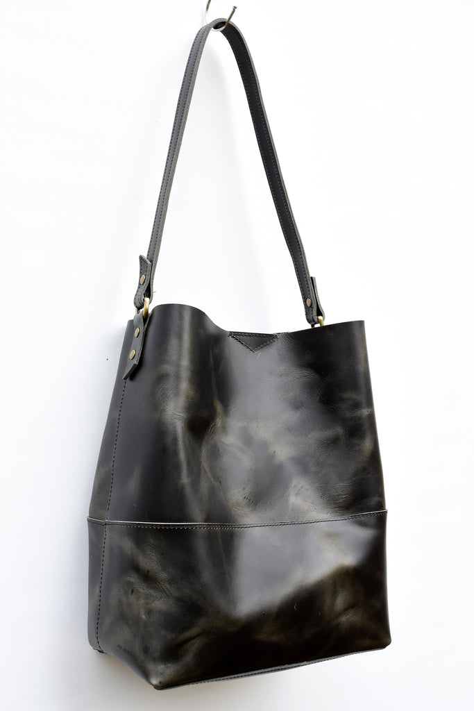 Ready to ship - Distressed Black Catalina Leather Hobo Bag