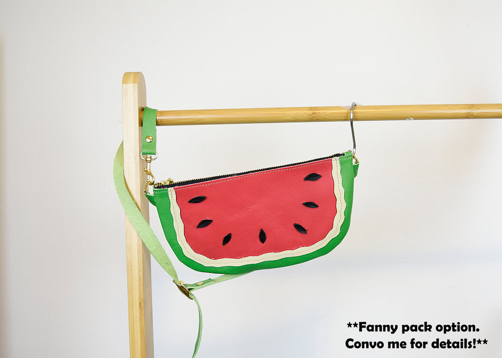 Watermelon Leather Clutch Wristlet