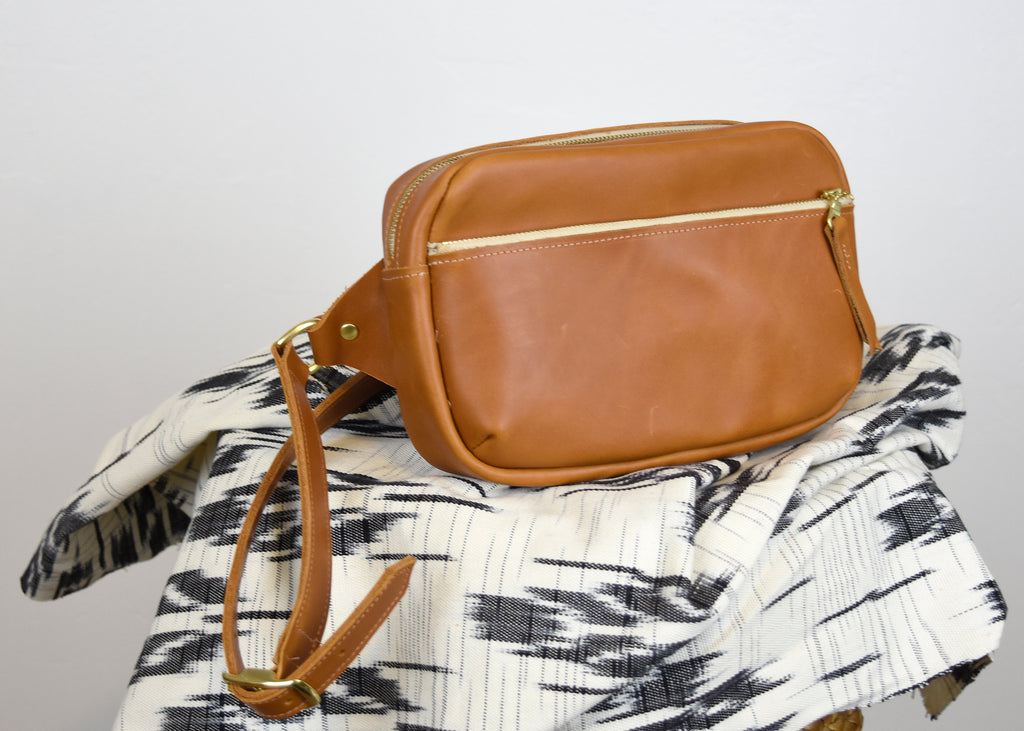 Brown leather fanny pack bum bag