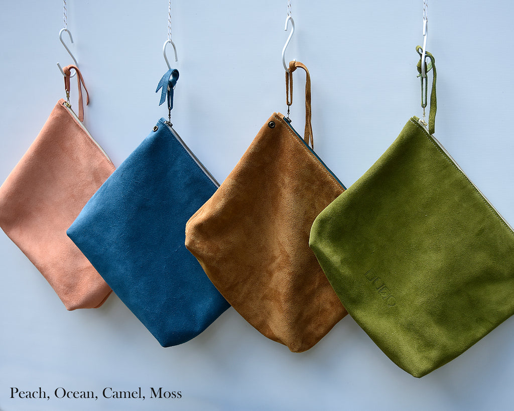 Leather Suede Zip Pouch Insert, Suede Pouch