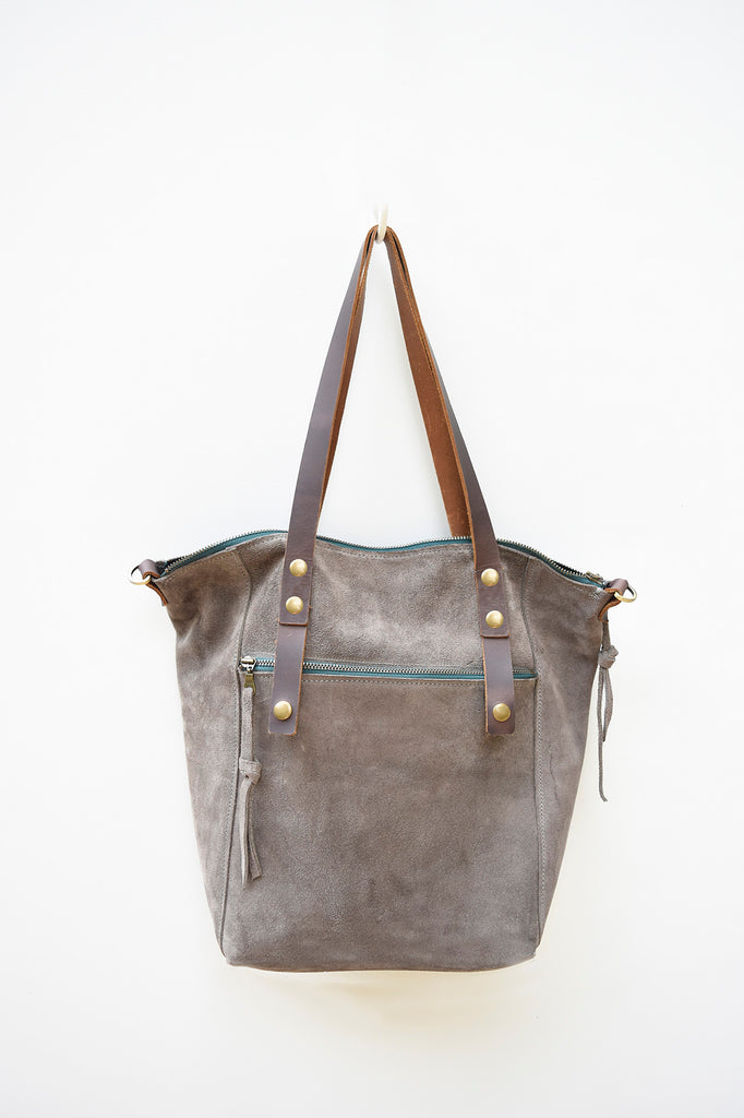 Dark Grey Suede Tote - women's leather tote bag with zippered closure.  Crossbody strap, interior pocket and exterior zip pocket