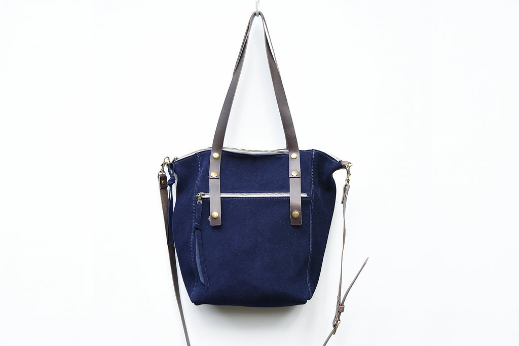 Navy Suede Tote - women's leather tote bag with zippered closure.  Crossbody strap, interior pocket and exterior zip pocket