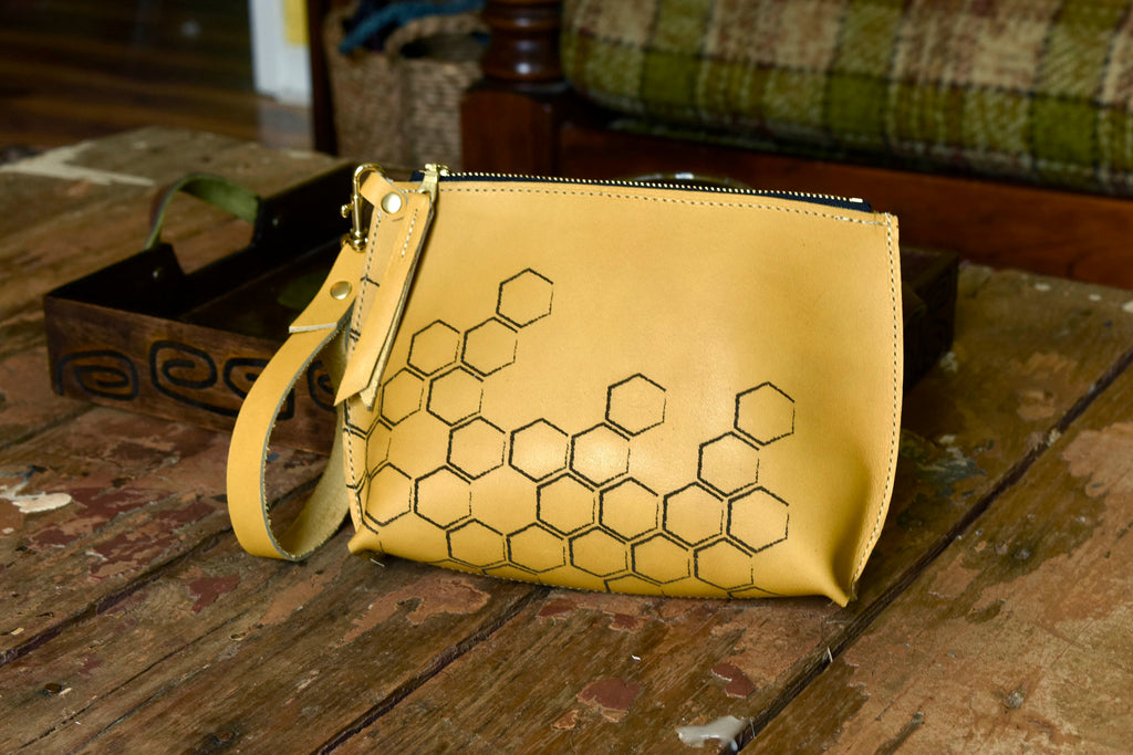 Honeycomb Everyday Wristlet in Mustard