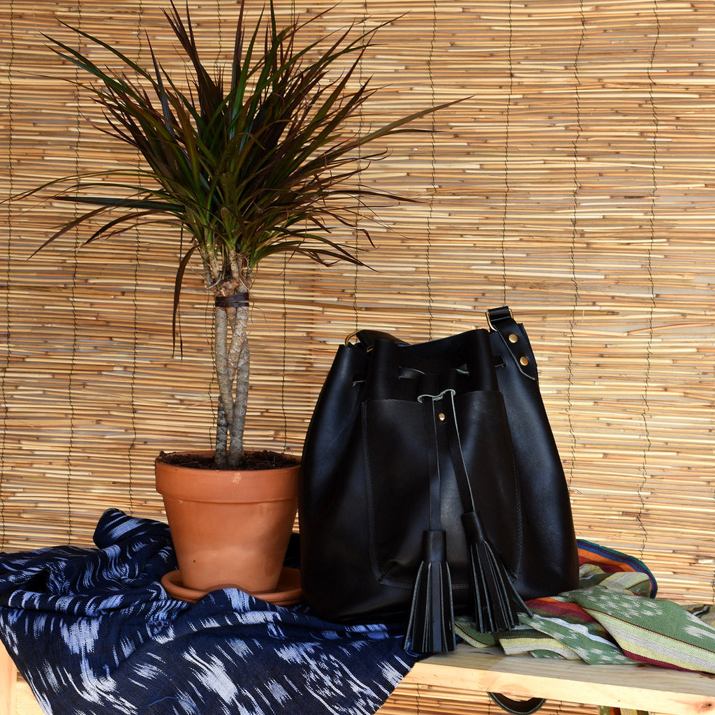 Abbie Leather Bucket Bag with Tassels