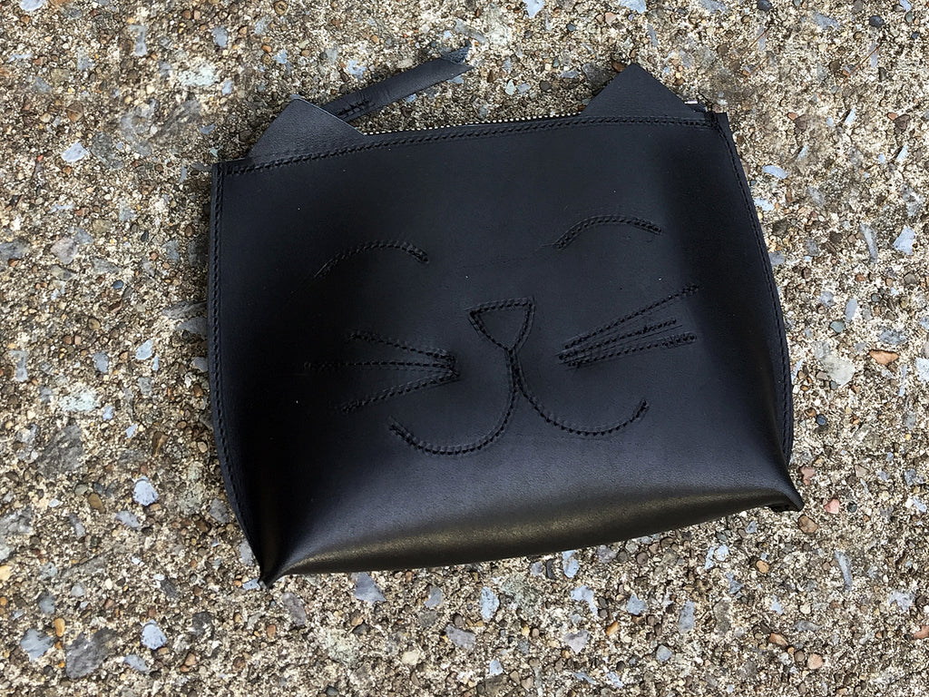 Cat Leather Wristlet / Leather Clutch / Woman's Clutch