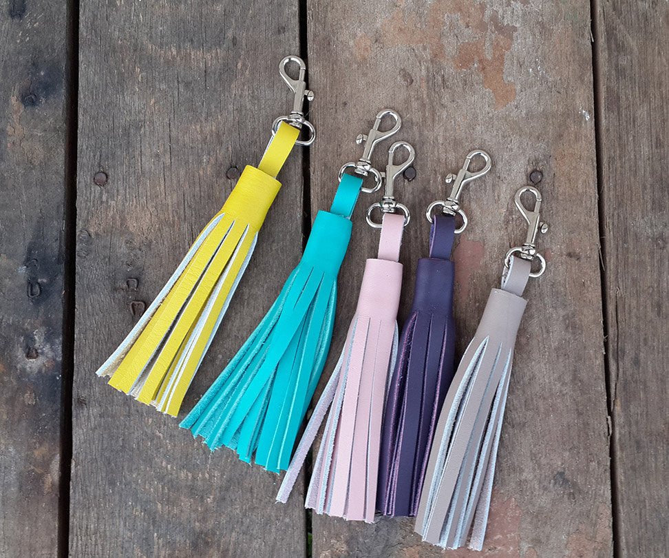 Leather Tassel Keychain Clip