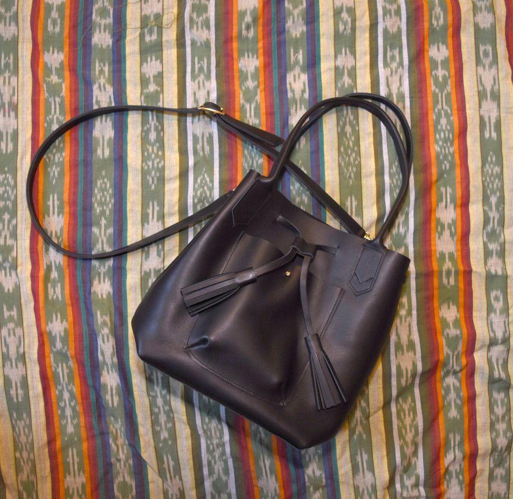 Frankie Tote - Leather Drawstring tote