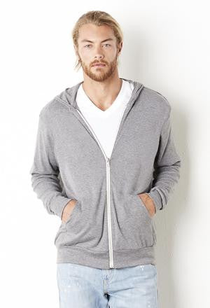 BELLA+CANVAS™ TRIBLEND FULL ZIP LIGHTWEIGHT HOODIE.