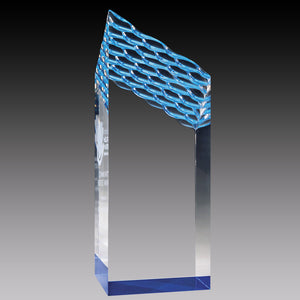 Clear Acrylic Waterfall Tower, Blue Foil Base 8""
