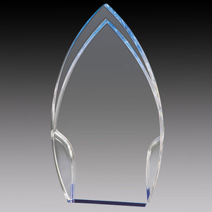 Clear Acrylic Rounded Peak, Blue Foil Base 8""