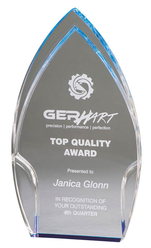 Clear Acrylic Rounded Peak, Blue Foil Base 8