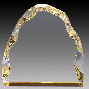 Clear Acrylic Iceberg, Gold Foil Base 4""