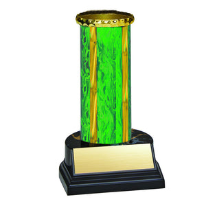 Trophy Kit Green/Gold Round Blaze Column on Round Black Marble Base