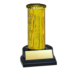 Trophy Kit Gold/Gold Round Blaze Column on Round Black Marble Base