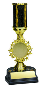 "Trophy Kit Stars 2"" Holder Riser w Black/Gold Blaze Column on RSB Black Base"