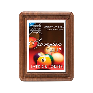"Classic Series Walnut Plaque with Sublimated Plate 10""x13"""