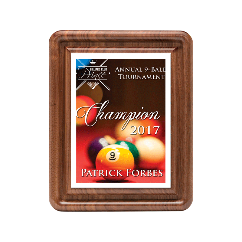 Classic Series Walnut Plaque with Sublimated Plate 10