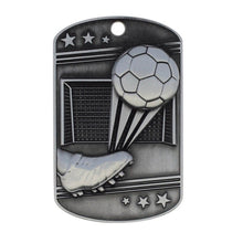 Soccer Dog Tag Key Chain Silver